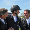 Badminton winner 2013, Jock Paget, is congratulated by fellow Kiwis Andrew Nicholson and Mark Todd