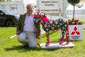 Julian Seaman - Badminton Media Director with 'Blossom' who formed part of the World Horse Welfare Invisible Horse Trail at Badminton 2016